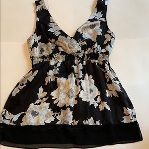 White House Black Market silk floral top small